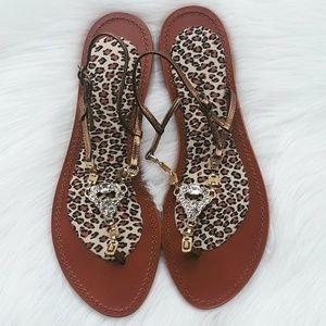 J. Crew | Leopard Jeweled Leather Sandals